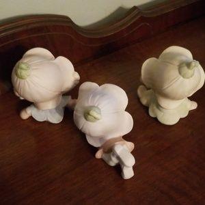 Accents - Vintage Homco Trio of Pixies/Elves w/ Flower Hats